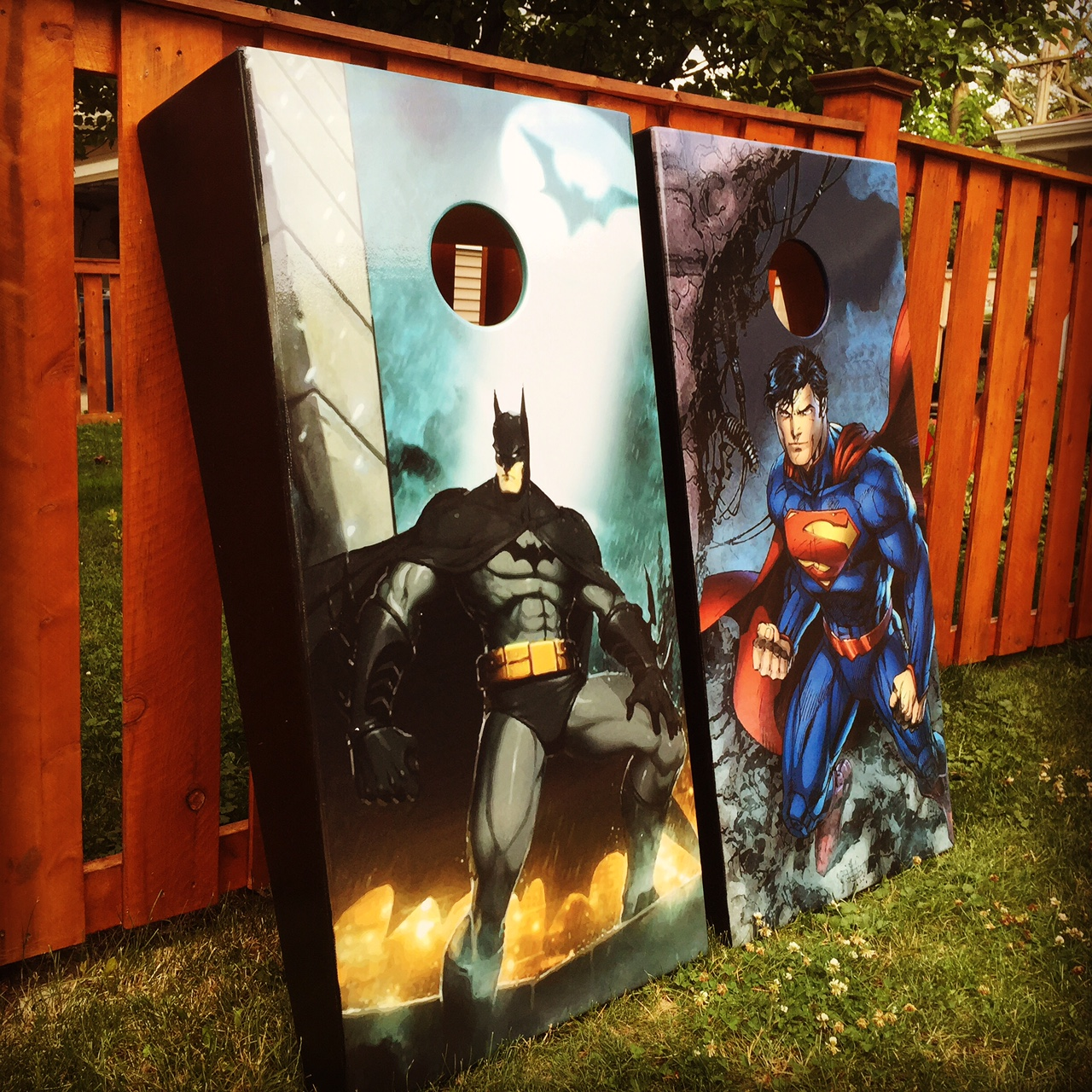 Batman & Superman Cornhole Wrap