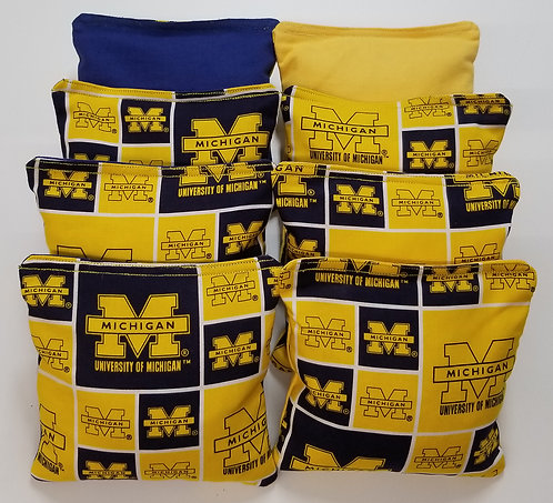 Clearance- Set of 8 - Michigan Blue & Yellow