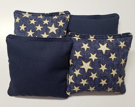 Set of 4 - Blue Glitter Star