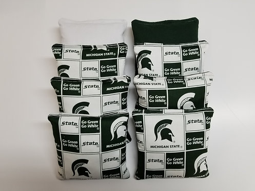 Set of 8 - Michigan State Green & White