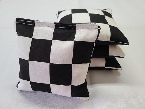 Set of 4 - Wedding black & White Checkers FREE SHIPPING