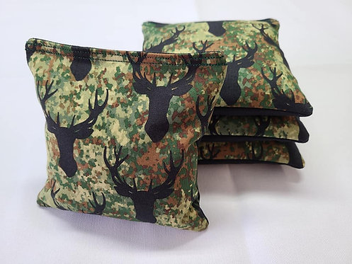 Set of 4 - Stag Head On Camo