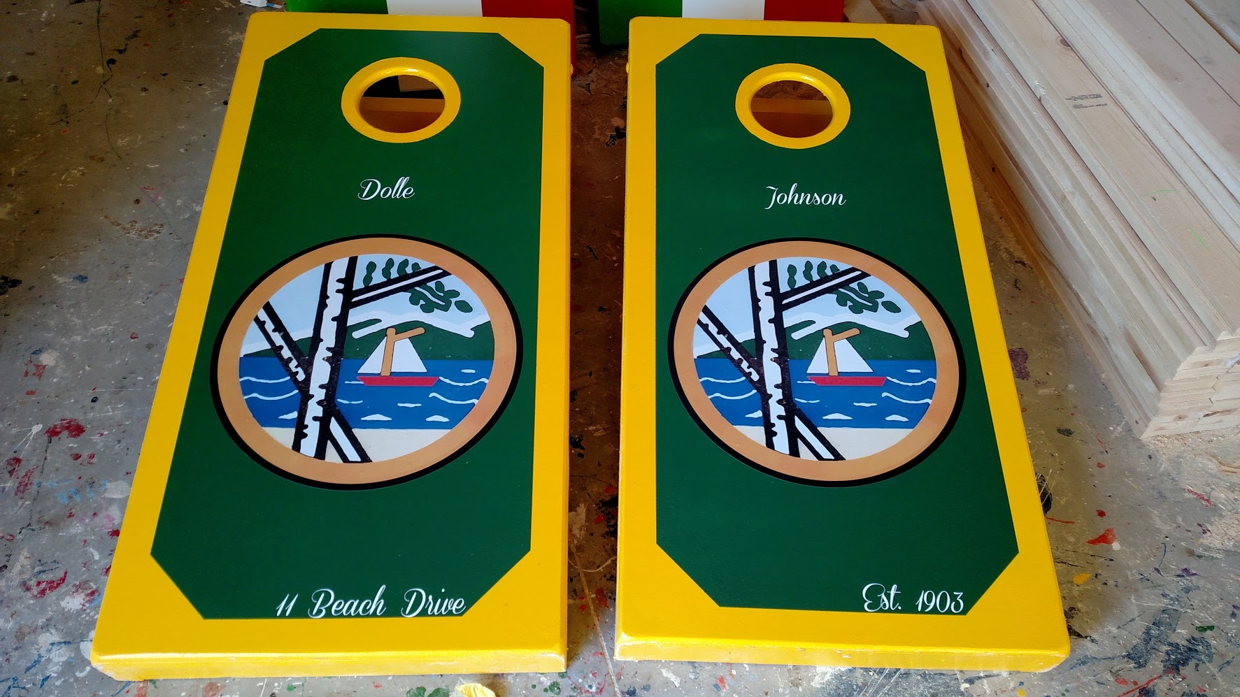 Custom Sailboat Cornhole Board Wrap