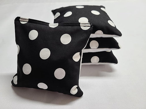 Set of 4 - Wedding black & White Large Polka Dot