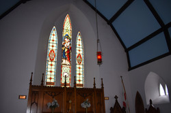 Stained glass in the sanctuary.