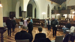 Parishioners walking the labyrinth.