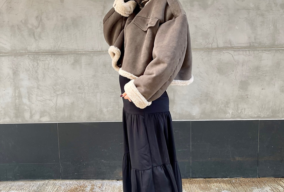 SUEDE LEATHER CROPPED SHEARLING COAT