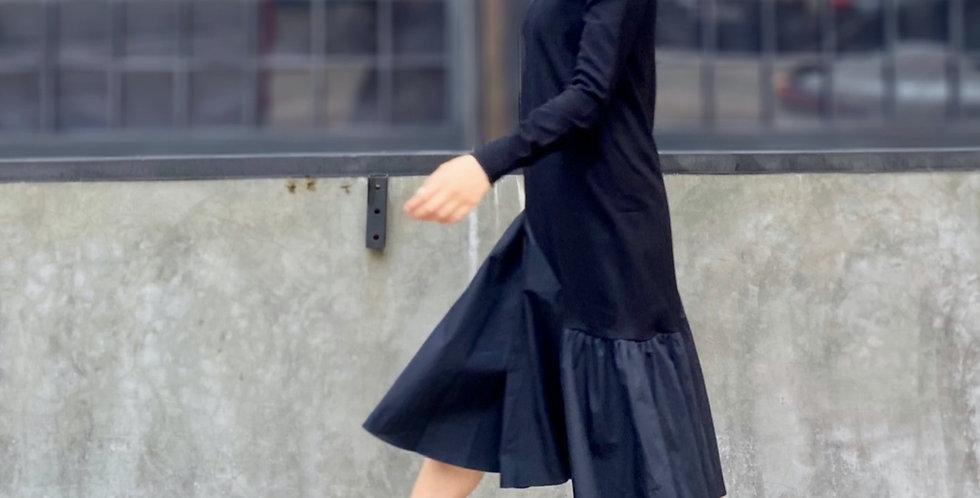 KNIT & NYLON FLARE DRESS
