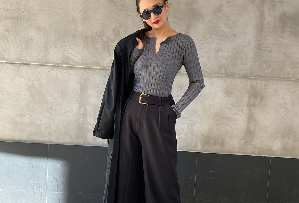 WIDE LEG PANTS WITH BRASS GOLD BUCKLE