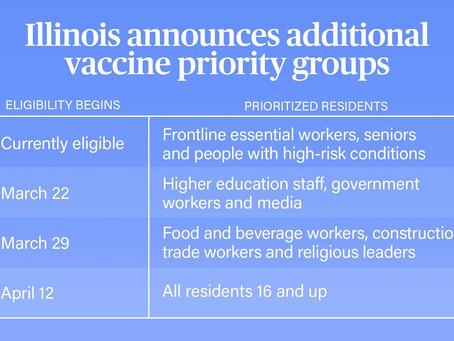 COVID-19: Illinois Announces Additional Vaccine Priority Groups
