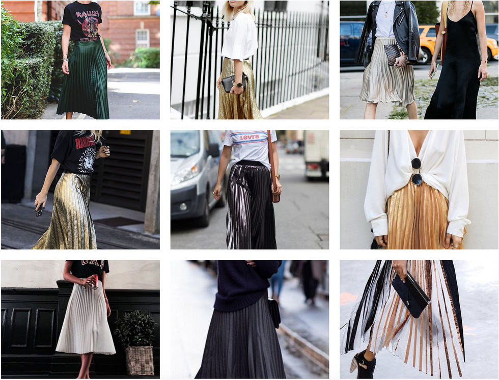 TREND RADAR // PLEATED METALLIC SKIRT