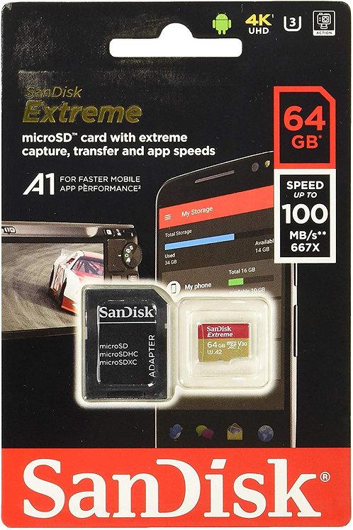 Sandisk SanDisk Extreme Micro SD Memory Card 100MB/s A1 Class 10 UHS-I U3 V30 4K