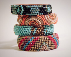 Beaded stacked cuffs