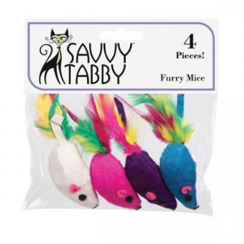 FURRY MICE CAT TOYS - 4 PK