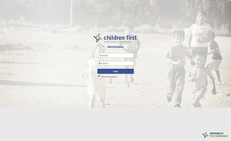 screen shot of log in page for children first software