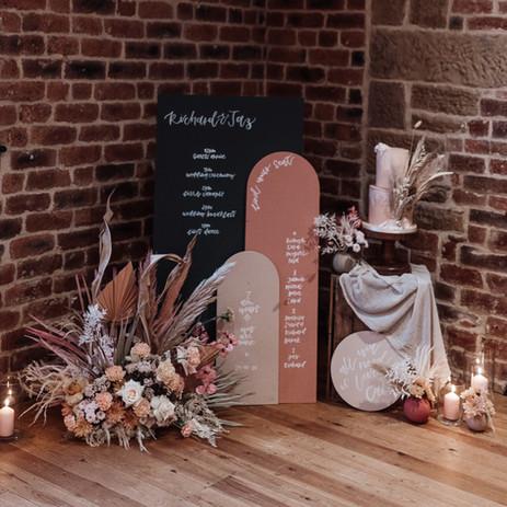 Photographer: Emma Ryan / Florist: Frond & Bloom / Signage: Wild Calligraphy / Cake: Bake Ashbourne