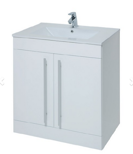 Purity 600mm Floor Standing 2 Door Unit & Ceramic Basin - White