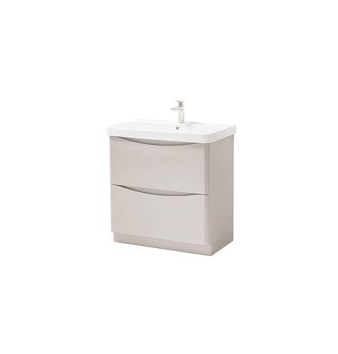 Cayo 800mm Floor Standing 2 Drawer Unit & Ceramic Basin - Grey
