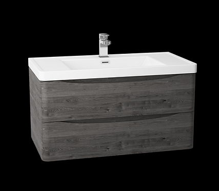 Bali Graphite Oak 900 Wall Mounted Cabinet & Basin