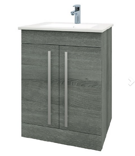 Purity 750mm Floor Standing 2 Door Unit & Ceramic Basin - Grey Ash