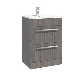 Lili 600 Cabinet Avola Grey Standalone Two Drawer With Basin