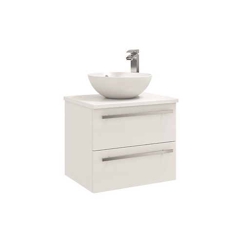 600mm Wall Mounted 2 Drawer Unit with Ceramic Worktop - Sit on bowl