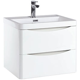 Bella 600 Wall Cabinet High Gloss White - With Basin