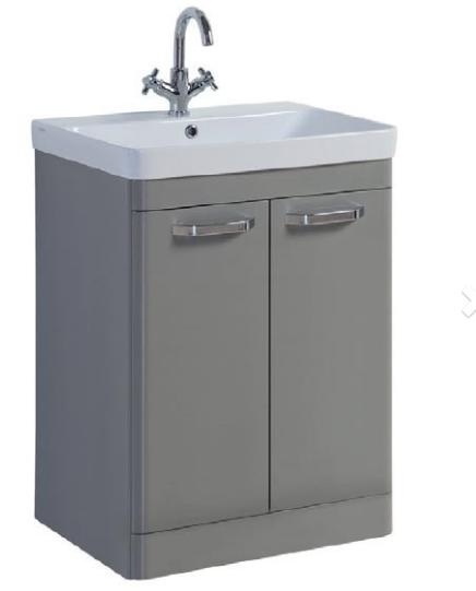 Options 500mm Floor Standing 2 Door Unit & Ceramic Basin - Basalt Grey