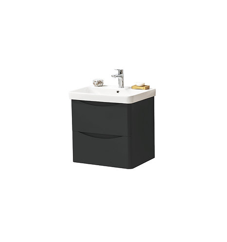 Cayo 600mm Wall Mounted 2 Drawer Unit & Ceramic Basin - Anthracite
