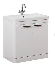 Options 800mm Floor Standing 2 Door Unit & Ceramic Basin - White
