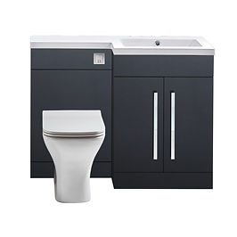 """L Shape WC Unit 1100mm Graphite Grey """"Made in Britain"""""""