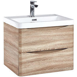 Bella 600 Wall Cabinet Driftwood With Basin