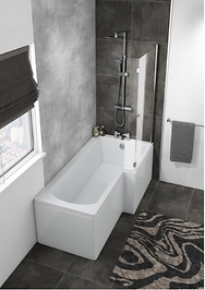 HALLE RIGHT L SHAPE BATH WITH SCREEN & SIDE PANEL 1500×700