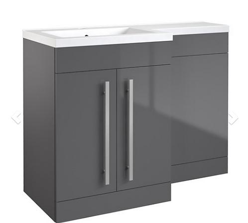 Matrix 2 Door L-Shaped Furniture Pack 1100mm (Includes Cistern) LH - Grey Gloss