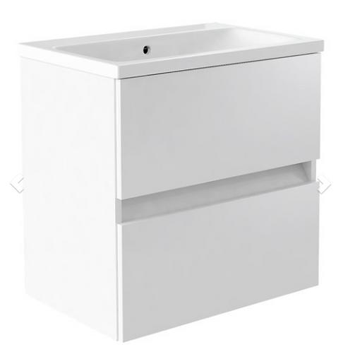 Ikon 600mm Wall Mounted 2 Drawer Unit & Ceramic Basin - White