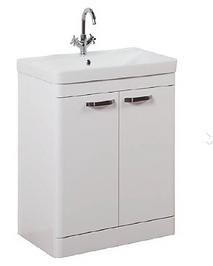 Options 600mm Floor Standing 2 Door Unit & Ceramic Basin - White