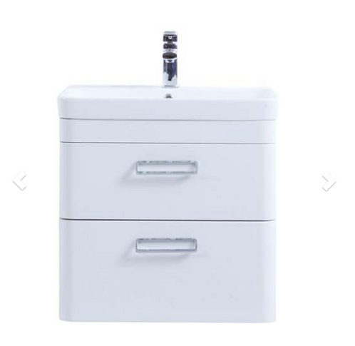 Metro 800mm Wall Hung Drawer Unit with Ceramic Basin - White