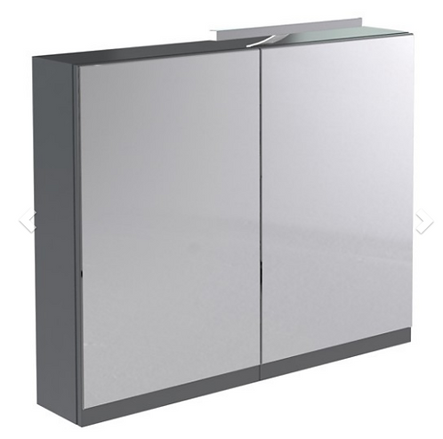 Ikon 800mm Mirror Cabinet with Light & Shaver Socket - Grey