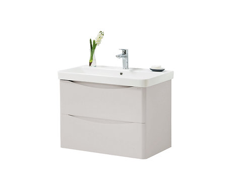 Cayo 800mm Wall Mounted 2 Drawer Unit Ceramic Basin - Grey