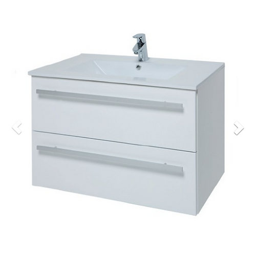 Purity 750mm Wall Mounted 2 Drawer Unit & Ceramic Basin - White