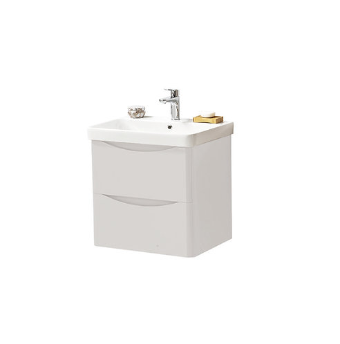 Cayo 600mm Wall Mounted 2 Drawer Unit & Ceramic Basin - Grey