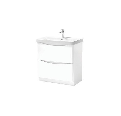 Cayo 800mm Floor Standing 2 Drawer Unit & Ceramic Basin - White