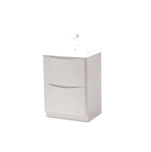 Cayo 600mm Floor Standing 2 Drawer Unit & Ceramic Basin - Grey