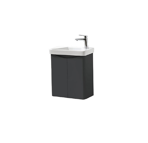 Cayo 500mm Wall Mounted 2 Door Unit & Ceramic Basin - Anthracite