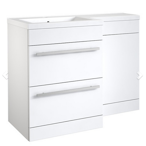Matrix 2 Drawer L-Shaped Furniture Pack 1100mm (Includes Cistern) LH - White
