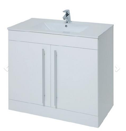 Purity 750mm Floor Standing 2 Door Unit & Ceramic Basin - White