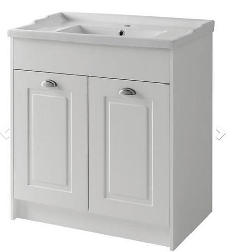 Astley 800mm Floor Standing 2 Door Unit & Ceramic Basin - Matt White