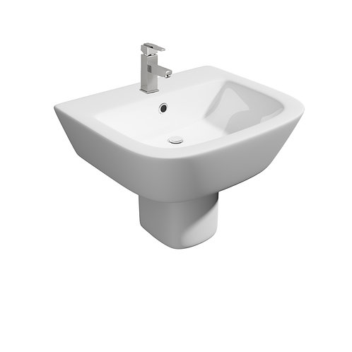 Project Square 540mm 1th Basin with Semi Pedestal