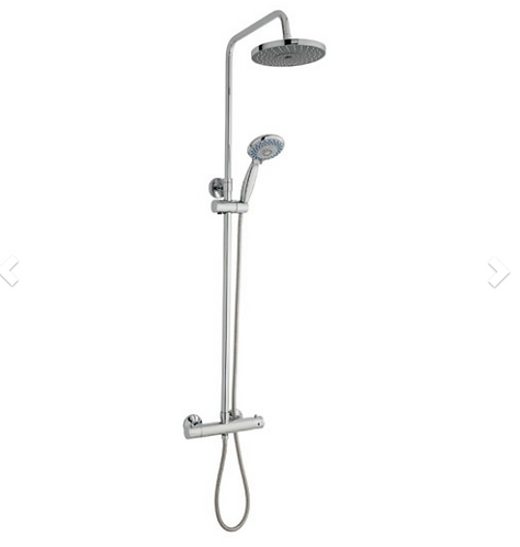 Plan Shower Option 6 Thermostatic Exposed Bar Shower with Overhead Drencher and