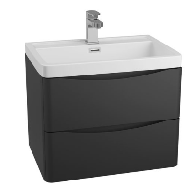 BALI BLACK 600MM WALL MOUNTED CABINET & POLYMARBLE BASIN